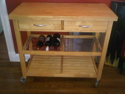 wine rack with roller - new kitchen area